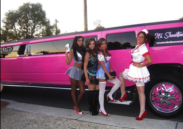 Hens Party Perth with a theme in the Pink Hummer Limo Perth Service