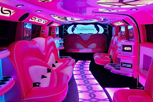 Interior photo of the Pink School balls Perth Hummer Limousine